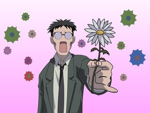 Rating: Safe Score: 59 Tags: azumanga_daioh black_hair flowers glasses kimura short_hair tie User: 秀悟