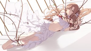 Rating: Safe Score: 94 Tags: barefoot brown_eyes brown_hair cait dress long_hair navel pointed_ears ribbons rope sword_art_online yuuki_asuna User: BattlequeenYume