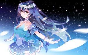 Rating: Safe Score: 86 Tags: blue_hair choker dress haruse_hiroki long_hair love_live!_school_idol_project petals sonoda_umi yellow_eyes User: FormX