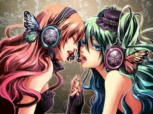 Rating: Safe Score: 54 Tags: 2girls aqua_eyes aqua_hair butterfly hatsune_miku headphones long_hair magnet_(vocaloid) megurine_luka nagi_kanako pink_hair vocaloid User: HawthorneKitty