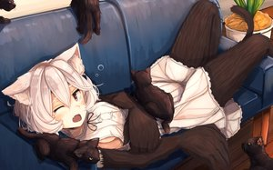 Rating: Safe Score: 183 Tags: animal animal_ears cat catgirl couch original plan_(planhaplalan) short_hair sideboob tail tears white_hair wink User: Flandre93