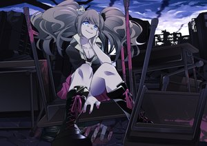 Rating: Safe Score: 100 Tags: blood blue_eyes boots dangan-ronpa enoshima_junko long_hair ruins total9 twintails User: Flandre93