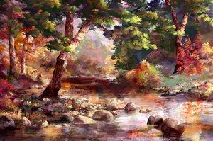 Rating: Safe Score: 66 Tags: autumn forest nobody rwby sae-midori scenic tree water User: otaku_emmy