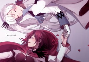 Rating: Safe Score: 58 Tags: 2girls breasts dress gloves kuma_(bloodycolor) long_hair necklace petals red_hair ruby_rose rwby short_hair waifu2x weiss_schnee white_hair User: RyuZU