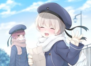 Rating: Safe Score: 29 Tags: 2girls anthropomorphism blonde_hair blush brown_eyes close clouds gloves kantai_collection paper purple_hair scarf short_hair sky totto_(naka) z1_leberecht_maass_(kancolle) z3_max_schultz_(kancolle) User: RyuZU