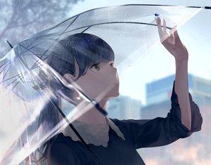 Rating: Safe Score: 86 Tags: black_eyes black_hair close long_hair original ponytail rain sawasawa umbrella water User: RyuZU