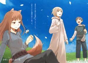 Rating: Safe Score: 19 Tags: animal_ears ayakura_juu blonde_hair brown_hair craft_lawrence flowers gray_eyes gray_hair green_eyes horo long_hair nora_ardent petals red_eyes short_hair sky spice_and_wolf tail wolfgirl User: 秀悟