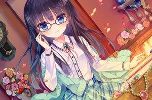 Rating: Safe Score: 85 Tags: aqua_eyes black_hair book flowers glasses long_hair petals shiwasu_horio skirt User: RyuZU