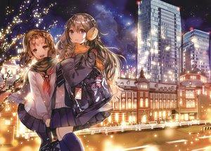 Rating: Safe Score: 56 Tags: 2girls building city earmuffs kneehighs night original pantyhose rioka_(southern_blue_sky) scarf scenic school_uniform User: RyuZU