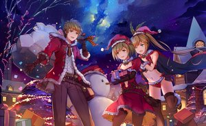 Rating: Safe Score: 56 Tags: bell bow breasts brown_eyes brown_hair building cape christmas city clarisse_(granblue_fantasy) cleavage clouds djeeta_(granblue_fantasy) dress elbow_gloves gloves granblue_fantasy gran_(granblue_fantasy) hat male natsumoka navel panties ribbons santa_costume santa_hat short_hair sky snow snowman stars thighhighs tie tree twintails underwear User: mattiasc02