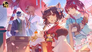 Rating: Safe Score: 53 Tags: animal_ears brown_hair catgirl cherry_blossoms dark_skin flowers food group hat ichihime_(majsoul) japanese_clothes kimono logo long_hair mahjong_soul male ponytail red_eyes rope short_hair shrine sky tagme_(character) tie umbrella vhumiku wink User: BattlequeenYume