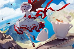 Rating: Safe Score: 48 Tags: clouds dress drink hat leidami pointed_ears purple_eyes red_eyes remilia_scarlet ribbons short_hair sky socks touhou vampire wings User: RyuZU
