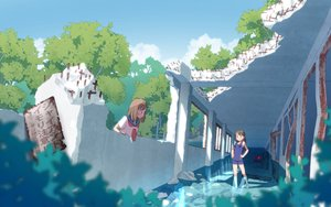Rating: Safe Score: 15 Tags: 2girls brown_hair long_hair original ruins scenic seifuku short_hair swimsuit syego twintails water User: gnarf1975