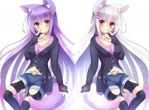 Rating: Safe Score: 153 Tags: animal_ears blush foxgirl kiyu_(kiyupapiko) long_hair navel original purple_hair red_eyes thighhighs white_hair yellow_eyes User: SciFi