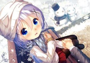 Rating: Safe Score: 30 Tags: aqua_eyes blush chinomaron close gochuumon_wa_usagi_desu_ka? hat kafuu_chino scarf signed snow snowman User: あかり