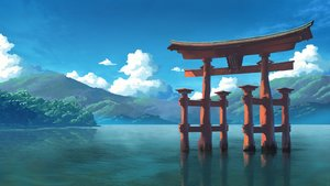 Rating: Safe Score: 60 Tags: badriel clouds nobody original reflection scenic sky torii tree water User: otaku_emmy