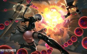 Rating: Questionable Score: 29 Tags: ass blindfold boots breasts dress gloves gray_hair headband liang_xing nier nier:_automata panties robot sword underwear watermark weapon yorha_unit_no._2_type_b User: RyuZU