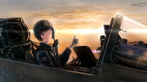Rating: Safe Score: 65 Tags: aircraft blue_eyes brown_hair combat_vehicle gloves hallelujah_zeng military original signed sunset wink User: mattiasc02