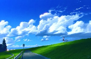 Rating: Safe Score: 95 Tags: bicycle clouds grass kneehighs landscape original scenic seifuku sky technoheart tree User: Flandre93