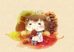 Rating: Safe Score: 16 Tags: anthropomorphism autumn boots brown brown_hair dress food hinata_yuu_(artist) kantai_collection leaves school_uniform short_hair yukikaze_(kancolle) User: otaku_emmy