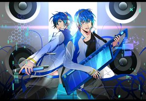Rating: Safe Score: 23 Tags: all_male blue_eyes blue_hair glasses headband instrument kaito male microphone okiku vocaloid User: RyuZU