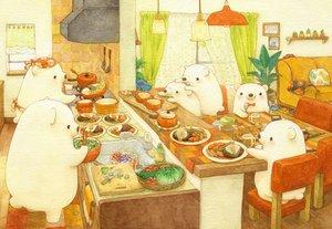 Rating: Safe Score: 40 Tags: animal apple apron bear blush bow couch food fruit group headdress original scenic st.kuma tree User: otaku_emmy