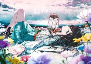 Rating: Safe Score: 44 Tags: black_hair bow clouds flowers long_hair original scan school_uniform skirt sky tiv User: BattlequeenYume