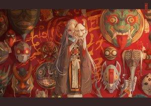 Rating: Safe Score: 47 Tags: demon horns japanese_clothes kimono long_hair mask nanahara_shie original red_eyes white_hair User: otaku_emmy