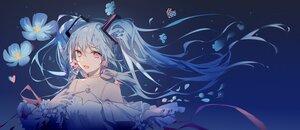 Rating: Safe Score: 59 Tags: aqua_hair choker flowers fre hatsune_miku long_hair petals pink_eyes ribbons twintails vocaloid User: Maboroshi