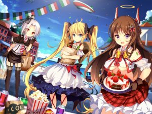 Rating: Safe Score: 91 Tags: aircraft airship andrea_doria anthropomorphism aqua_eyes blonde_hair bow breasts brown_hair building caio_duilio cake cape choker clouds collar dress drink food fruit garter_belt gloves halo hat headdress horns jianren long_hair purple_eyes red_eyes ribbons short_hair skirt sky stockings strawberry thighhighs twintails underboob vittorio_veneto water white_hair zhanjian_shaonu User: mattiasc02
