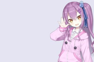 Rating: Safe Score: 69 Tags: anzu_channel brown_eyes capriccio gray hinomori_anzu hoodie long_hair ponytail purple_hair ribbons shirt third-party_edit User: otaku_emmy