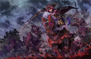 Rating: Safe Score: 137 Tags: animal armor cape gloves horse iceojin long_hair male original pixiv_fantasia red_eyes red_hair scar sword weapon User: Flandre93