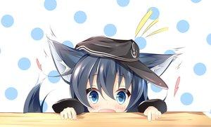 Rating: Safe Score: 54 Tags: akatsuki_(kancolle) animal_ears anthropomorphism blue_eyes blue_hair blush hat kantai_collection kushida_you long_hair tail User: RyuZU