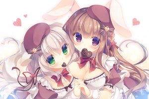 Rating: Safe Score: 58 Tags: 2girls animal_ears blonde_hair bow braids breasts brown_hair bunny_ears bunnygirl candy chocolate cleavage doggirl dress green_eyes hat heart long_hair maid original purple_eyes tail valentine waifu2x wristwear yukie User: otaku_emmy