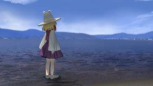 Rating: Safe Score: 28 Tags: barefoot blonde_hair clouds hat landscape moriya_suwako scenic short_hair skirt sky suna_(s73d) touhou water User: Fepple