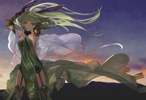Rating: Safe Score: 106 Tags: armor clouds dress elbow_gloves garter_belt gloves green_eyes green_hair long_hair original pupps sideboob sky sunset thighhighs User: otaku_emmy