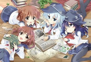 Rating: Safe Score: 56 Tags: akatsuki_(kancolle) anthropomorphism aqua_eyes aqua_hair blush book brown_eyes brown_hair fang group hat hibiki_(kancolle) hizuki_yayoi ikazuchi_(kancolle) inazuma_(kancolle) kantai_collection loli navel pantyhose school_uniform short_hair skirt wink User: RyuZU