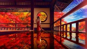 Rating: Safe Score: 73 Tags: aliasing autumn black_hair building clouds japanese_clothes original reflection sky smile_(qd4nsvik) tree User: mattiasc02