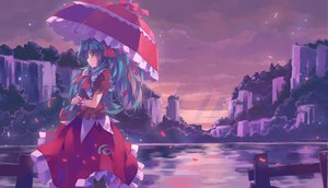 Rating: Safe Score: 75 Tags: dress kagiyama_hina nodata petals touhou umbrella User: opai