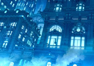Rating: Safe Score: 90 Tags: animal blue building cat city dress kaitan long_hair monochrome night original scenic User: RyuZU
