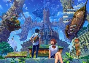 Rating: Safe Score: 19 Tags: airship building city clouds kaitan male original scenic school_uniform User: FormX
