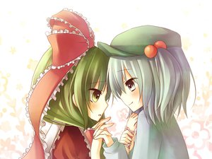 Rating: Safe Score: 16 Tags: gray_eyes gray_hair green_eyes green_hair hat kagiyama_hina kawashiro_nitori long_hair ribbons short_hair touhou User: HawthorneKitty