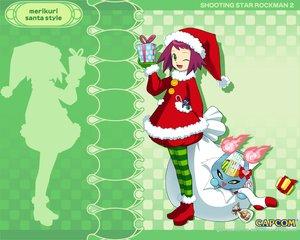 Rating: Safe Score: 6 Tags: boots capcom christmas flat_chest green_eyes harp hat hibiki_misora hoshikawa_subarau_(rockman) ishihara_yuuji nakashima_tokiko pantyhose purple_hair rockman rockman_(character) ryuusei_no_rockman ryuusei_no_rockman_2 santa_costume santa_hat short_hair wink User: 秀悟