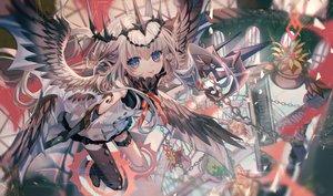 Rating: Safe Score: 41 Tags: blue_eyes chain garter gray_hair headdress long_hair original thighhighs wings yasato User: RyuZU