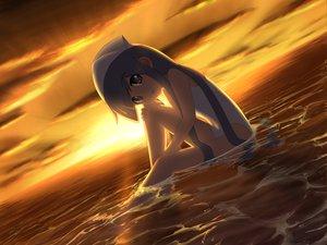Rating: Safe Score: 112 Tags: blue_eyes blue_hair ikamusume loli shinryaku!_ikamusume sunset swimsuit water wet User: Black_Rock_Shooter