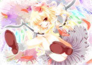 Rating: Safe Score: 45 Tags: blonde_hair bow flandre_scarlet orange_eyes panties ribbons short_hair touhou underwear wings wink yuimari User: ガラス