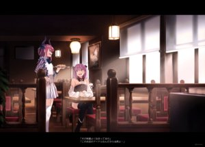 Rating: Safe Score: 25 Tags: 2girls dress drink elizabeth_bathory_(fate) fang fate/extra fate/extra_ccc fate/grand_order fate_(series) food helena_blavatsky_(fate) horns kerorira long_hair pink_eyes pink_hair short_hair thighhighs waitress watermark User: RyuZU