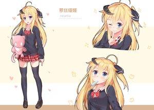 Rating: Safe Score: 54 Tags: blonde_hair blue_eyes blush bow horns long_hair nahaki original ponytail popsicle school_uniform thighhighs wink zettai_ryouiki User: RyuZU