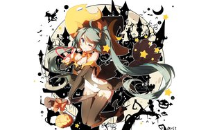 Rating: Safe Score: 97 Tags: animal aqua_eyes bai_yemeng bat blue_hair bodysuit boots bow cameltoe fang halloween hat hatsune_miku long_hair moon pumpkin signed silhouette stars thighhighs twintails vocaloid white wings wink witch witch_hat User: RyuZU