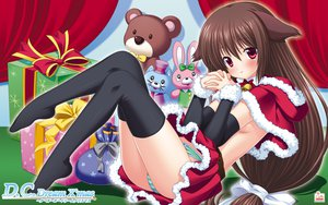 Rating: Questionable Score: 95 Tags: animal_ears bell bow brown_hair catgirl christmas da_capo da_capo_dream_x'mas elbow_gloves gloves long_hair no_bra panties red_eyes sagisawa_yoriko striped_panties thighhighs underwear User: Wiresetc